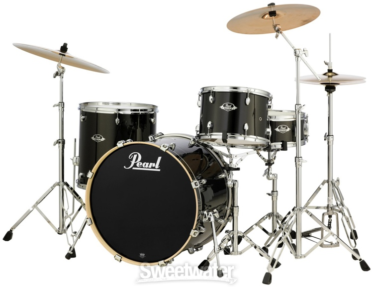pearl export exx 4 piece drum set w cymbals black gold sparkle. Black Bedroom Furniture Sets. Home Design Ideas