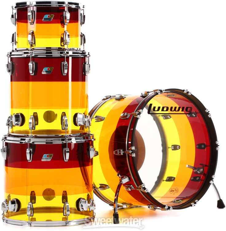 Ludwig vistalite 4 piece shell pack tequila sunrise for 18x18 floor tom