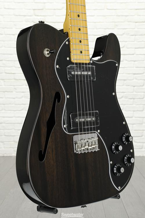 Fender Modern Player Telecaster Thinline Deluxe - Black Transparent, Serial: CGF1604030