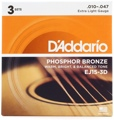 D'Addario EJ15 Phosphor Bronze Acoustic Guitar Strings (.010-.047 Extra Light 3-Pack)