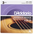 D'Addario EJ26 Phosphor Bronze Acoustic Guitar Strings (.011-.052 Custom Light 3-Pack)