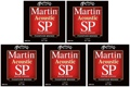 Martin MSP4100 SP 92/8 Phosphor Bronze Acoustic Strings (.012-.054 Light 5-Pack)