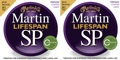 Martin MSP6050 SP Lifespan 80/20 Bronze Acoustic Strings (.011-.052 Cst. Light 2-Pack)