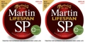 Martin MSP6100 SP Lifespan 80/20 Bronze Acoustic Strings (.012-.054 Light 2-Pack)