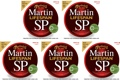 Martin MSP6100 SP Lifespan 80/20 Bronze Acoustic Strings (.012-.054 Light 5-Pack)