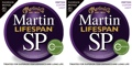 Martin MSP7050 SP Lifespan 92/8 Phosphor Bronze Strings (.011-.052 Cst Light 2-Pack)