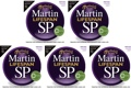 Martin MSP7050 SP Lifespan 92/8 Phosphor Bronze Strings (.011-.052 Custom Light 5-Pack)