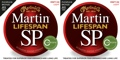 Martin MSP7100 SP Lifespan 92/8 Phosphor Bronze Strings (.012-.054 Light 2-Pack)