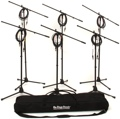 Sweetwater MS7701B Euro Boom Microphone Stand Package (6 Stands, 6 Cables with Bag)