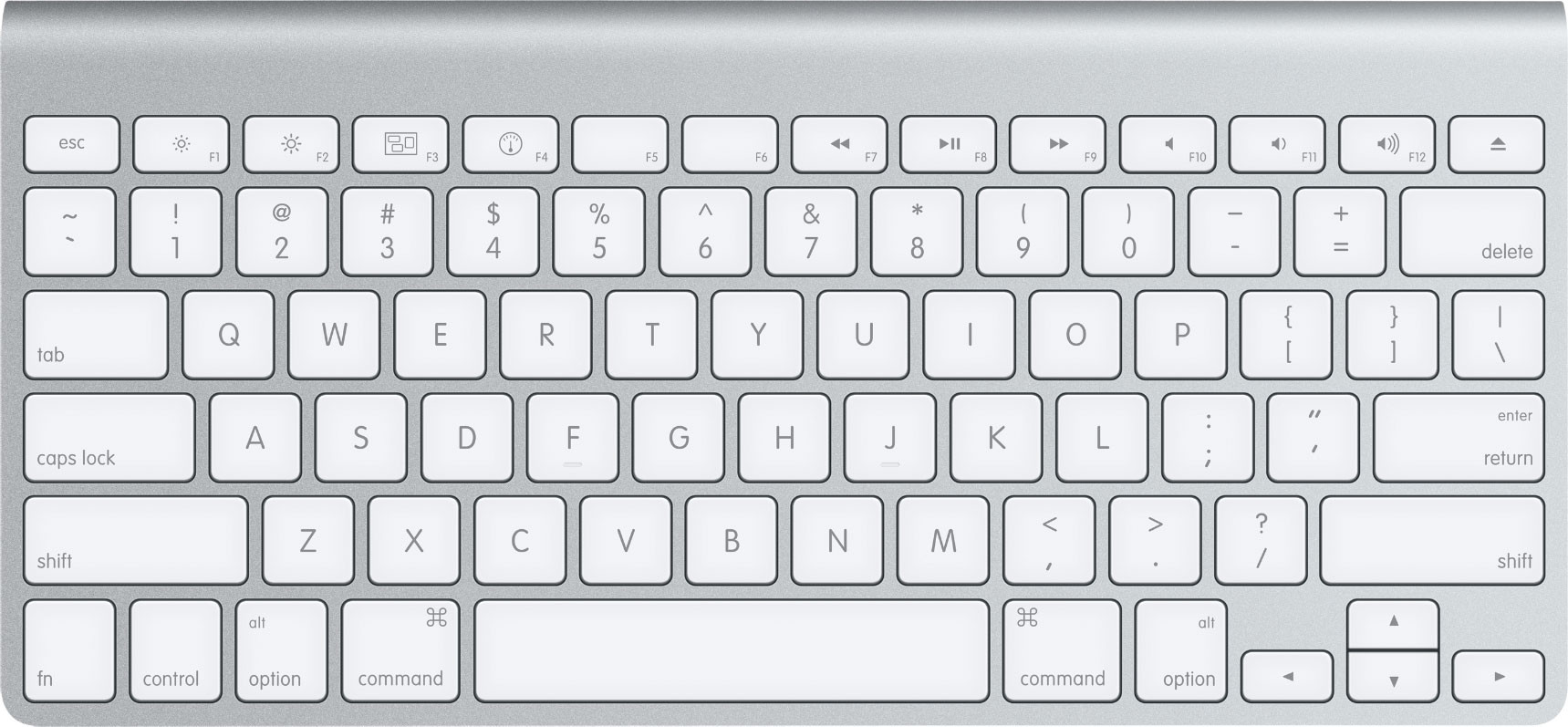 Apple Wireless Keyboard. Un teclado natural, liviano, compacto y estándar.