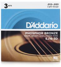 D'Addario EJ16 Phosphor Bronze Acoustic Guitar Strings (.012-.053 Light 3-Pack)