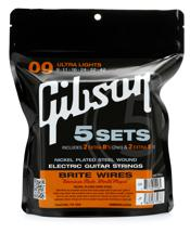 Gibson Accessories 700UL Brite Wires Electric Strings (.009-.042 - Ultra Light - 5-pk)
