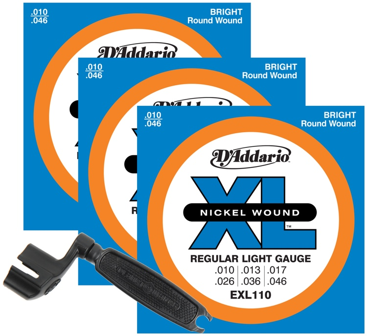 d 39 addario exl110 nickel wound electric guitar strings 010 046 light 3 pk winder. Black Bedroom Furniture Sets. Home Design Ideas