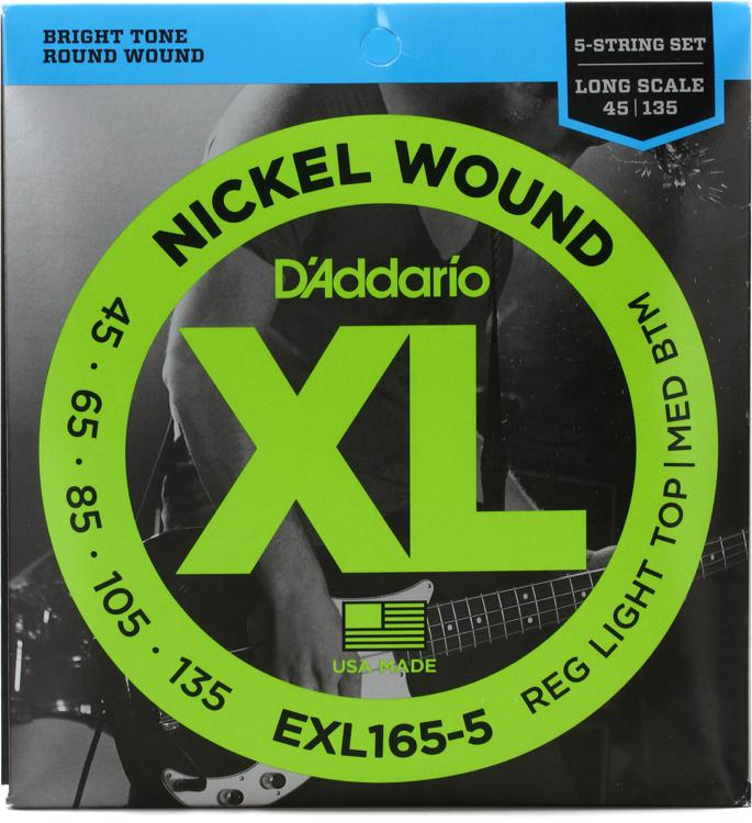 Addario EXL165-5 Nickel Wound Long Scale Light Top/Medium Bottom 5 ...