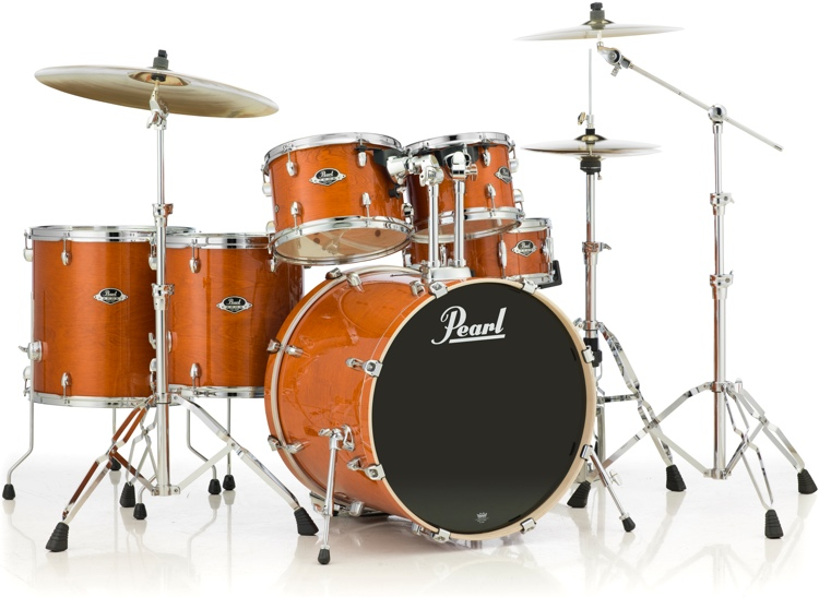 pearl export exl 6 piece rock shell pack with snare drum honey amber. Black Bedroom Furniture Sets. Home Design Ideas