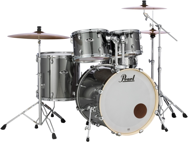pearl export exx 5 piece drum set with hardware fusion configuration smokey chrome. Black Bedroom Furniture Sets. Home Design Ideas