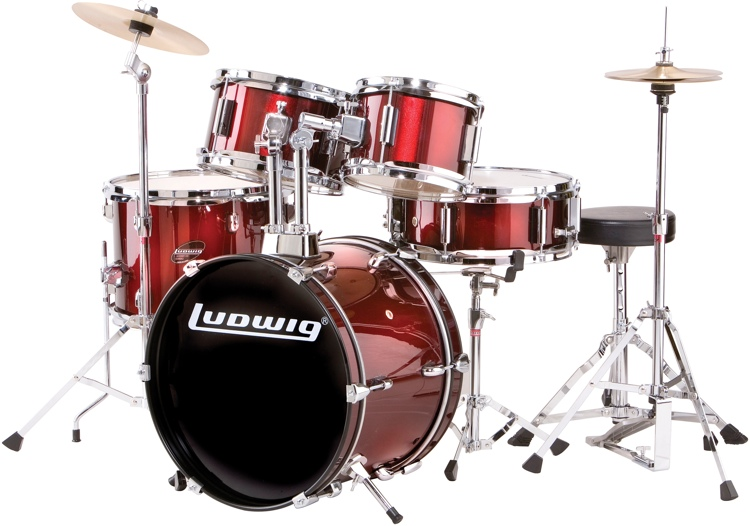 ludwig 5 piece junior drum set with cymbals hardware wine red. Black Bedroom Furniture Sets. Home Design Ideas