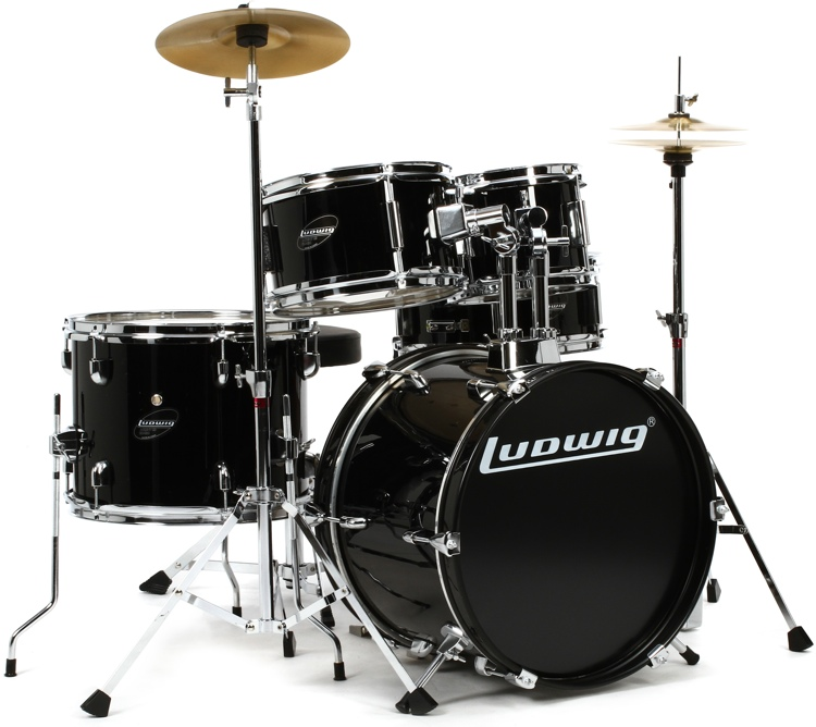 ludwig 5 piece junior drum set with cymbals and hardware black. Black Bedroom Furniture Sets. Home Design Ideas