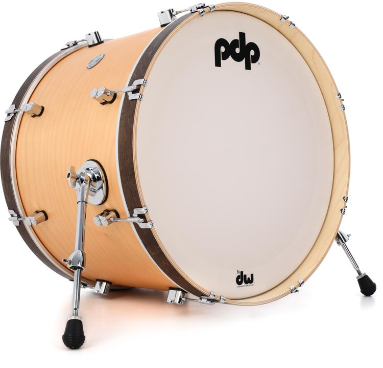 pdp concept maple classic bass drum 16 x22 natural with tobacco hoops. Black Bedroom Furniture Sets. Home Design Ideas