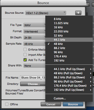 Pro Tools Bounce to Disk At Wrong Sample Rate? - inSync
