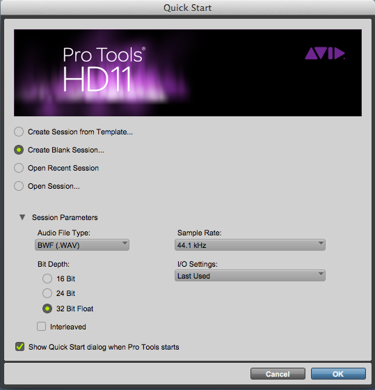 The Quick Start screen in Pro Tools