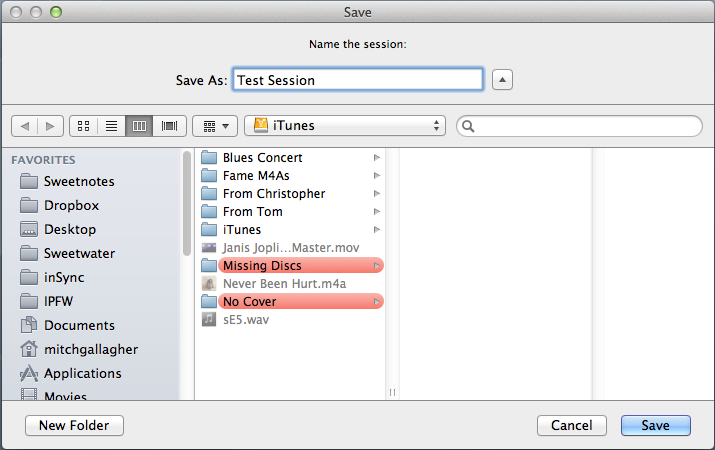Once you have created a new session, you can save it to any location/drive/folder you like.