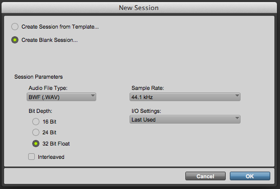 The New Session dialog in Pro Tools