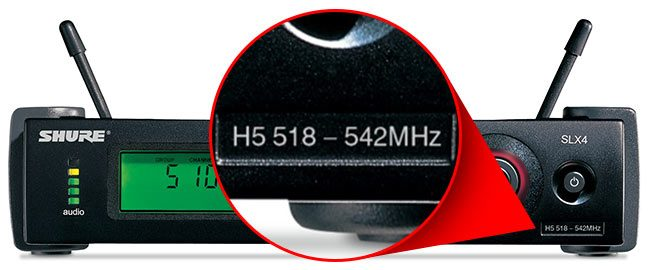 All wireless systems display the frequency band on the receiving unit or on the mic or body pack, so check there to see what frequencies your wireless ...