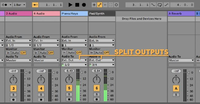 Ableton Live Seperate Track Outputs