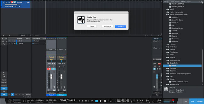 picture of studio one's warning modal to confirm action