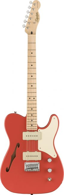 Squier-Paranormal-Cabronita-Thinline-Telecaster-Electric-Guitar-Fiesta-Red