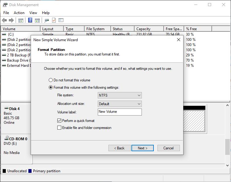 Disk Formatting window